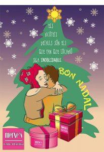 postal de Navidad con árbol, regalos y estrella de Merxe estética Bétera
