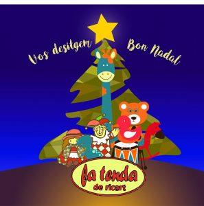 postal de Navidad árbol estrella juguetes regalos La tenda de Ricart Bétera